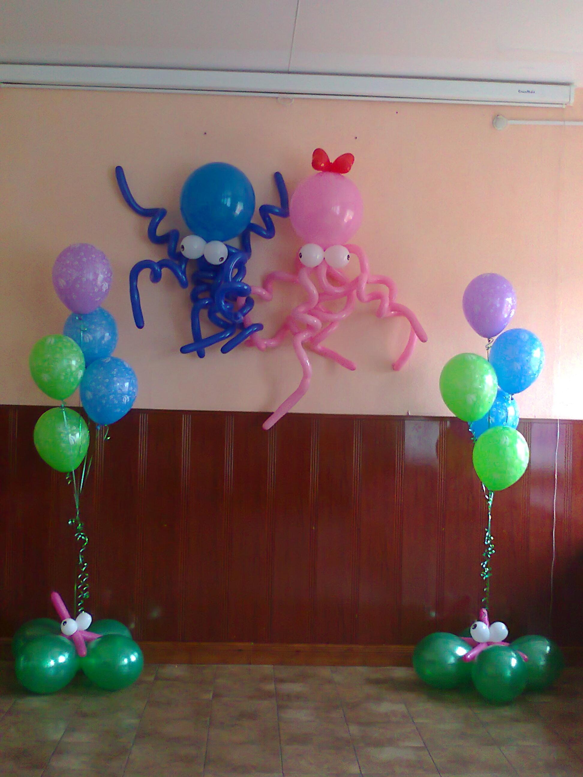 Пошаговое фото оформления шарами