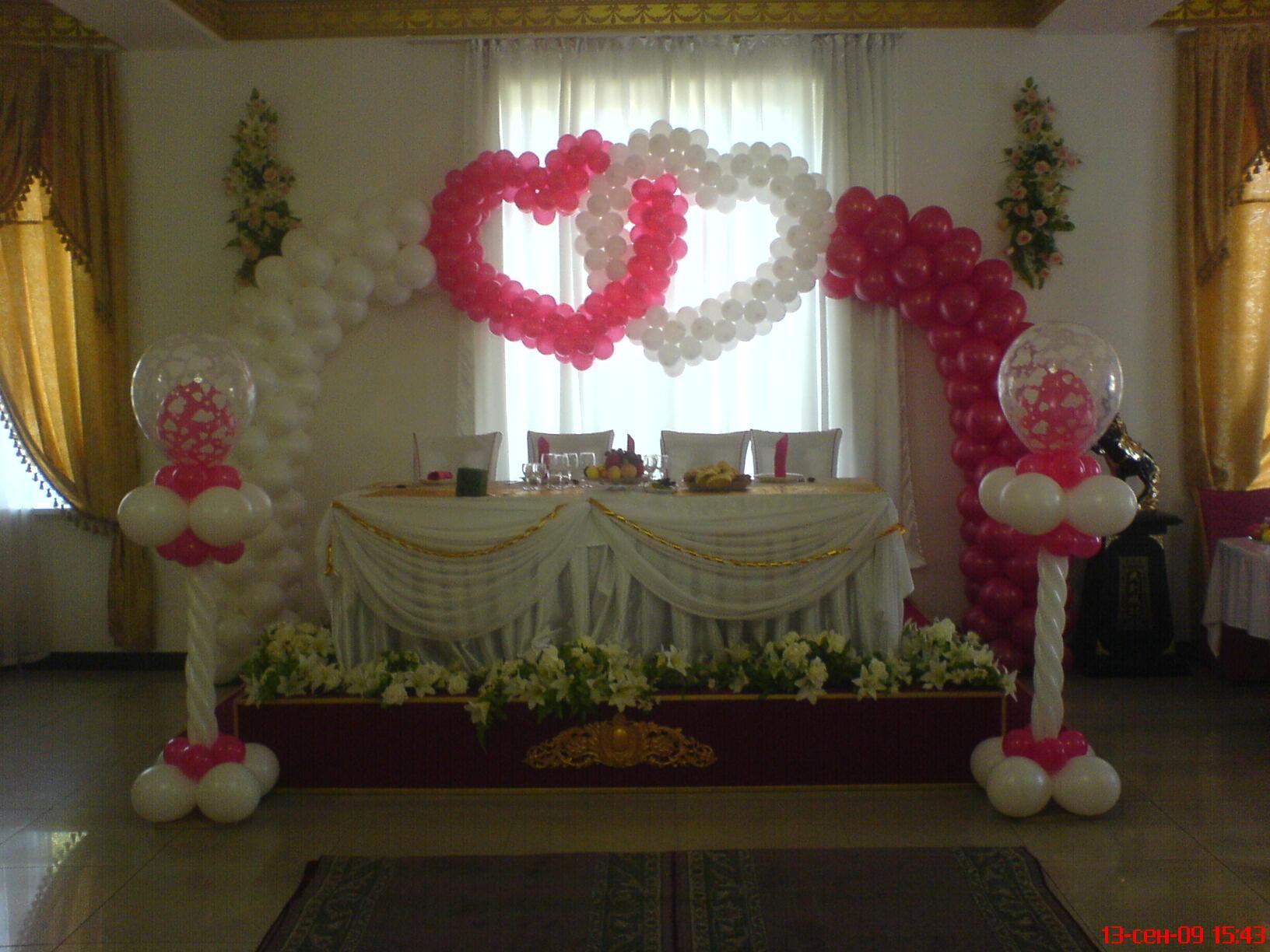 Украшение зала из шаров на свадьбу фото